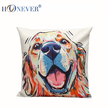 5 Christmas Dog Linen Cotton Blended Cushion Cover