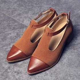 2015 Fashion Vintage Female Pointed Toe Nubuck Leather Thick Heel T-Strap Oxfords Shoes Women Low Flat - Hight Colors Store store