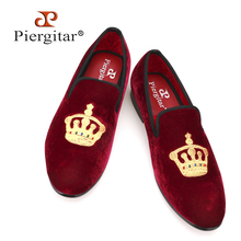 Embroidered Gold Crown Design Men Velvet Shoes Fashion Men Smoking Slippers Men wedding and party shoes SizeUS6-14 Free shipping(China (Mainland))