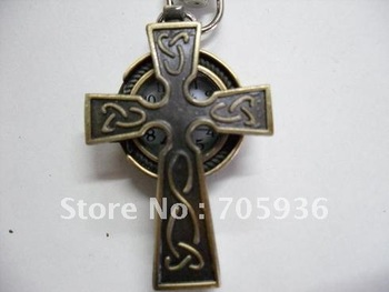 Model 34 Retro Style Antique cross pocket watch hollow out Fob watch with chain 20pcs/lot+Free shipping