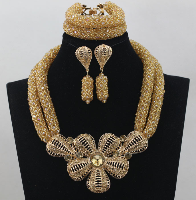 Classic Women18K Gold Plated Crystal Wedding Party African Beads Negerican Wedding Jewelry Sets Costumes Free Shipping WD197(China (Mainland))