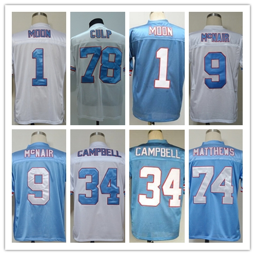 WARREN MOON Steve McNair EARL CAMPBELL BRUCE MATTHEWS CURLEY CULP Men's Throwback Jersey Size 48-56(China (Mainland))