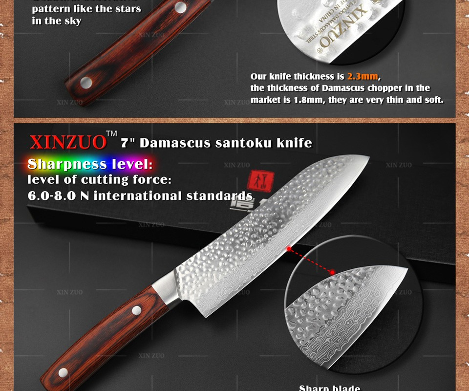 Buy XINZUO 5 pcs Kitchen knives set knife Damascus kitchen chef cleaver surper sharp knives Color wood handle free shipping cheap