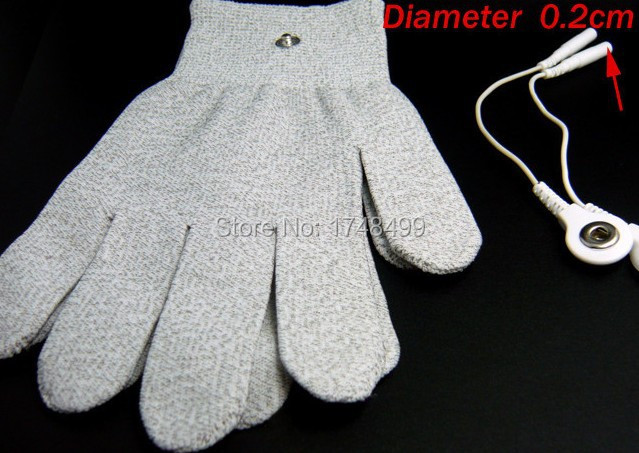 1 pair Conductive Fiber Electrode Gloves Massage TENS Gloves With 2.0mm Short Cable Use With TENS/EMS Machines(China (Mainland))