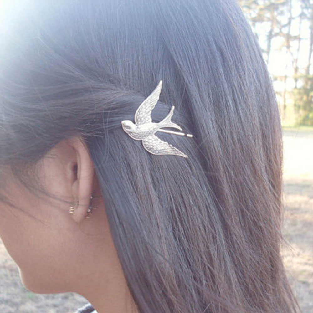 Exquisite Gold Color Lovely Bird Barrettes Hairpins For Hair Women Girl Simple Metal Hair Accessories Fashion Jewelry Headwear(China (Mainland))