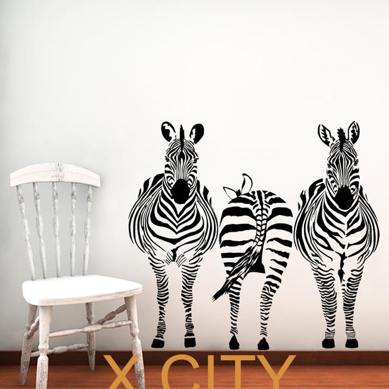 "3 Zebra Animals Jungle Safari African Vinyl Wall Decal Art Children Decor Sticker Home Bedroom Stencil Mural 22"" X 24""(China (Mainland))"
