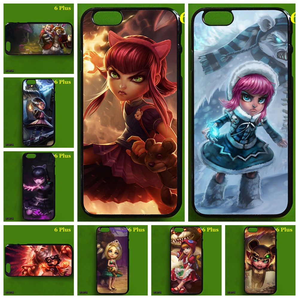 Black frame LOL Goth Annie phone case for iPhone 6 Plus, League of Legends the Dark Child(China (Mainland))