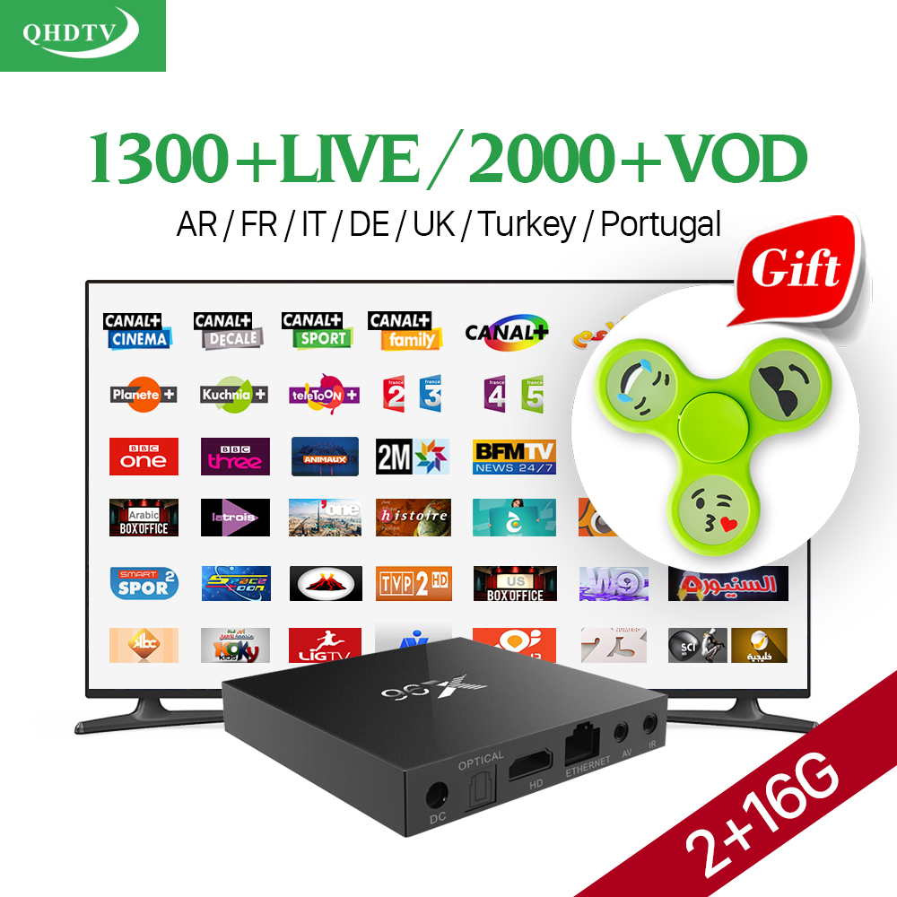 IPTV Arabic French Italy Netherlands Europe QHDTV HD IPTV Live Channel 1 Year+ X96 S905X 2G 16G Smart Android 6.0 TV Set Top Box(China (Mainland))