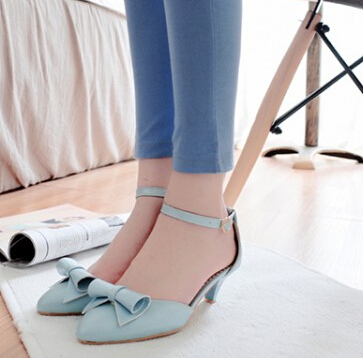2015 New Arrival Kitten Heel Pointed Toe Bowknot Ankle Wrap Summer Women Fashion Casual Sandals Shoes Plus Size 32-43 SXQ0617(China (Mainland))