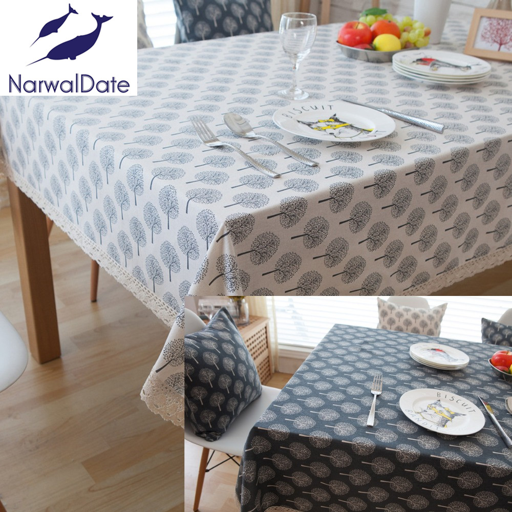 Pastoral Tablecloths Cotton & Linen Table Cloth Tree Printed Rectangular Table Cover Lace Edge Tablecloth(China (Mainland))