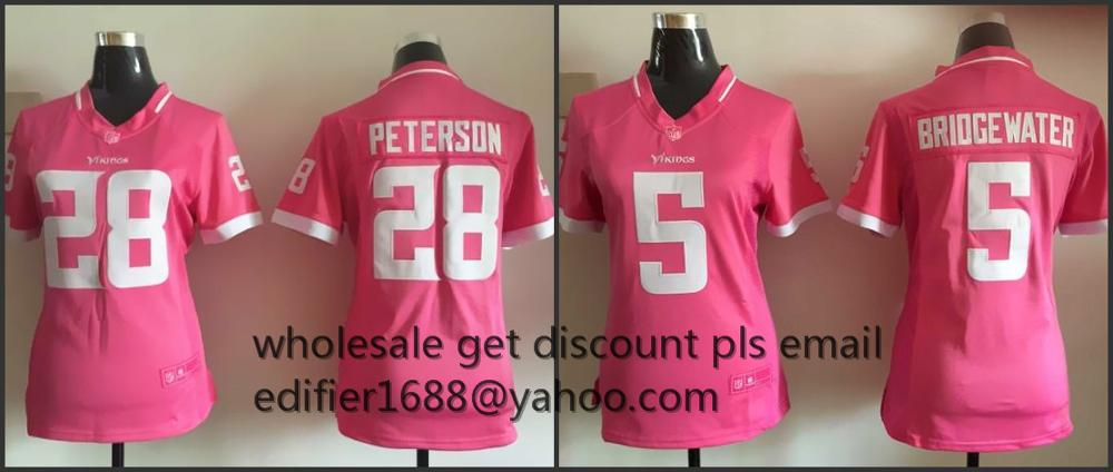 100% stitched women pink love Minnesota Vikings ladies 5 Teddy Bridgewater 28 Adrian Peterson Embroidery Logos size S~XXL(China (Mainland))