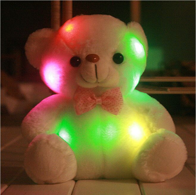 2015 new plush little pillow teddy bear light shine model of birthday gifts, Christmas gifts, new year children's toys(China (Mainland))