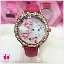 Gatito de moda mujeres Casual nuevos relojes reloj del Rhinestone del estilo para las niñas correa de cuero choque mujer pulsera envío gratuito