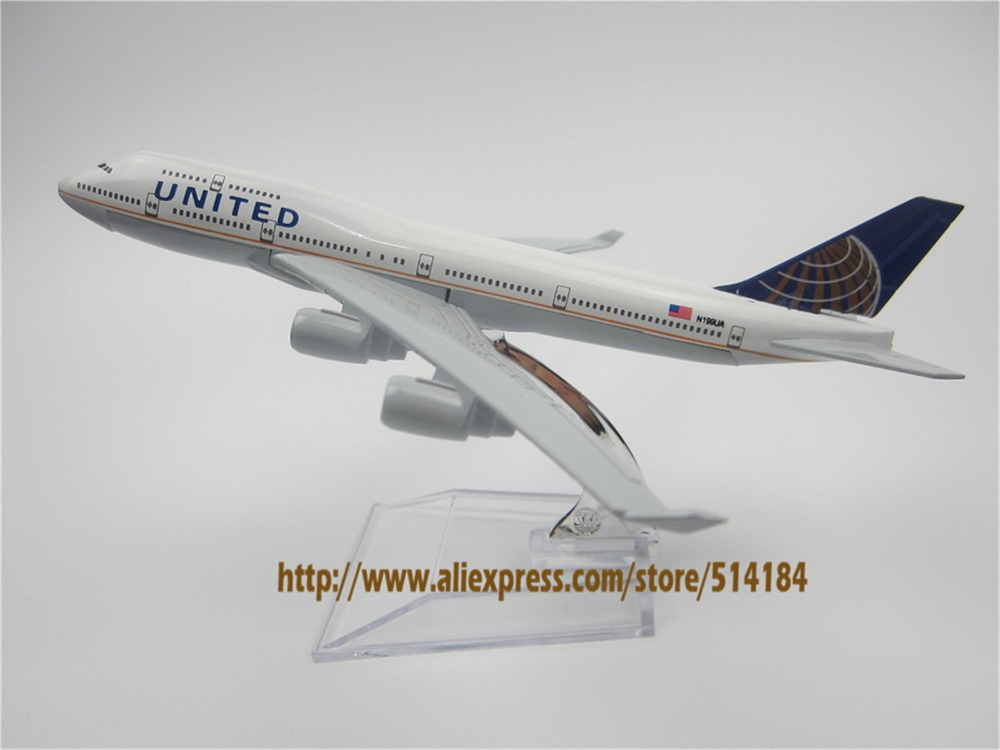 16cm Alloy Metal American Air United Airlines Boeing 747 B747 400 Airways Plane Model Aircraft Airplane Model w Stand Craft Gift(China (Mainland))