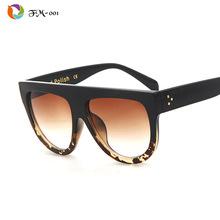 Woman Flat Top Mirror Sun Glasses Cat Eye Sunglasses French brand oculos De Sol(China (Mainland))
