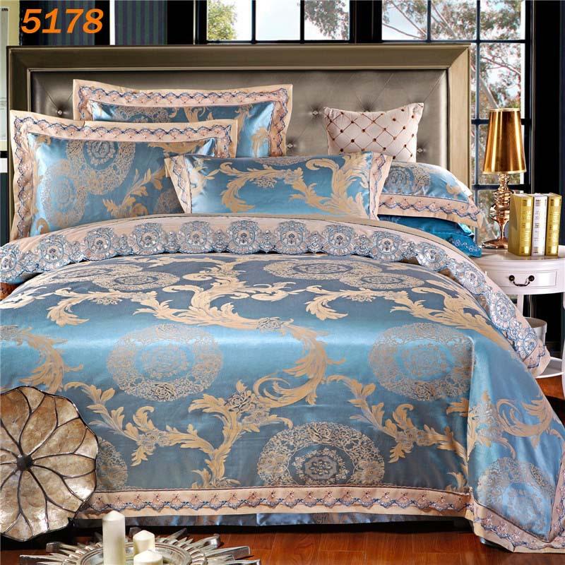 2015 New Arrival Sky Blue Silk Bedding Set 4pcs Queen King