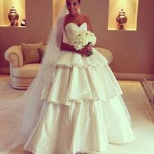 A-line Deep Floor-length Tiered Skirt Taffeta Wedding Dress Strapless Bridal Gown robe de mariage Sweetheart(China (Mainland))