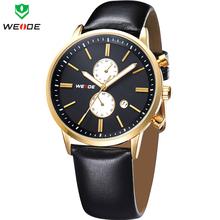 Marca de lujo WEIDE nuevo reloj para hombre clásico hombres de negocios vestido reloj del cuero genuino correa calendario completo relojes de cuarzo
