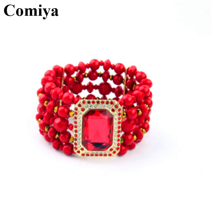 Fashion red beads big imitation gemstone de strass wide cuff bracelets pulsera wristband gifts large indiana 2016 arm jewelry(China (Mainland))