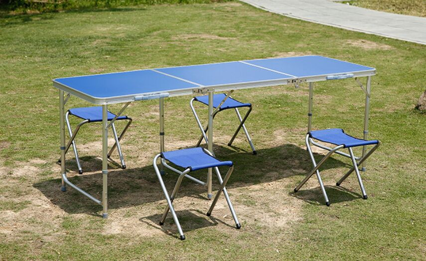 Гаджет  1.8m Aluminum folding table outdoor folding portable tables and 6chairs set outdoor table picnic adjustable 3 height fold table None Мебель