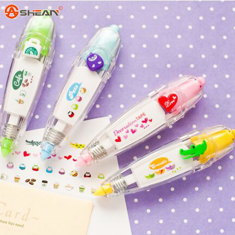 1pcs Korea Stationery Cute Creative Lace Decorative Book Correction Tape Correction Fluid Office Supply 4 Colors(China (Mainland))