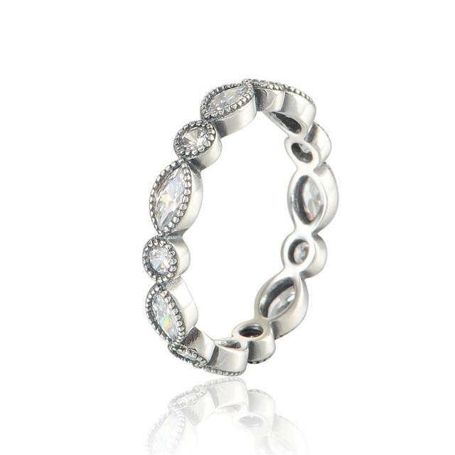 Чистый 925-Sterling-Silver ювелирных изделий CZ камни кольцо круглый и овальный вечность кольца DIY мода аксессуары и украшения 925 кольцо