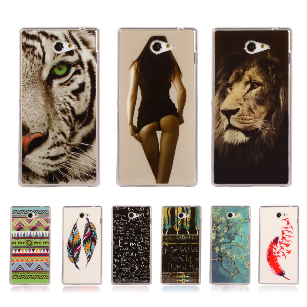 Cartoon Pattern Tribe Silicone Soft TPU Cover For Sony Xperia M2 S50H D2303 D2305 D2306 Back Skin Mobile Phone Protective Case(China (Mainland))