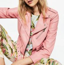 VogaIn NEW Spring 2016 Brand Women Pink Short chaquetas cazadora efecto Leather Crop Biker jackets belted shoulder Epaulets(China (Mainland))