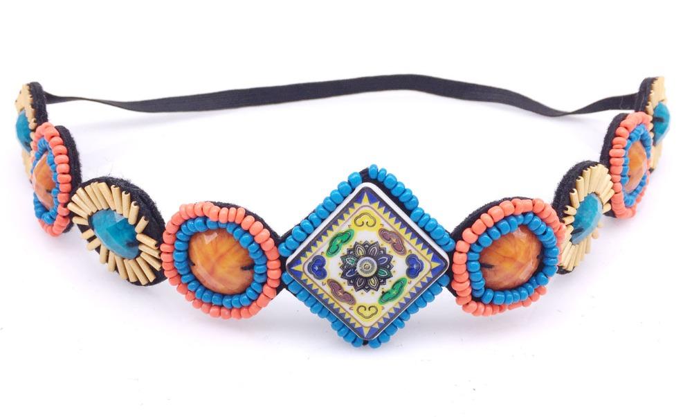 vintage bohemian ethnic tribal mixed color flower big stone handmade elastic headband hair band design hair accessories(China (Mainland))