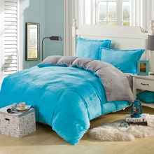 Twin queen king coral fleece bedding set not included filling soft velvet winter thickening solid color flannel bed duvet cover(China (Mainland))