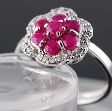 Real ruby gem ring 100 natural Gemstone 925 sterling silver Wedding rings size customized Imitation diamond