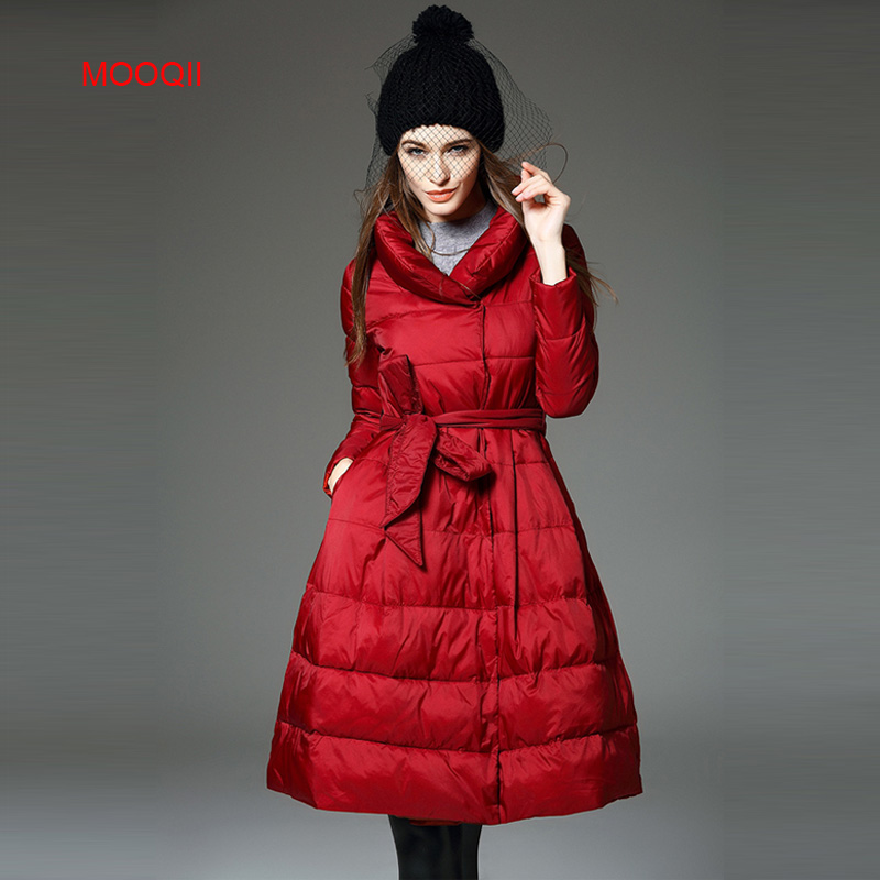 MOOQII 2016 Soft Fabric Down Coat Woman Clothes Winter Jacket With Pockets Belt Casaco Hot Sale(China (Mainland))