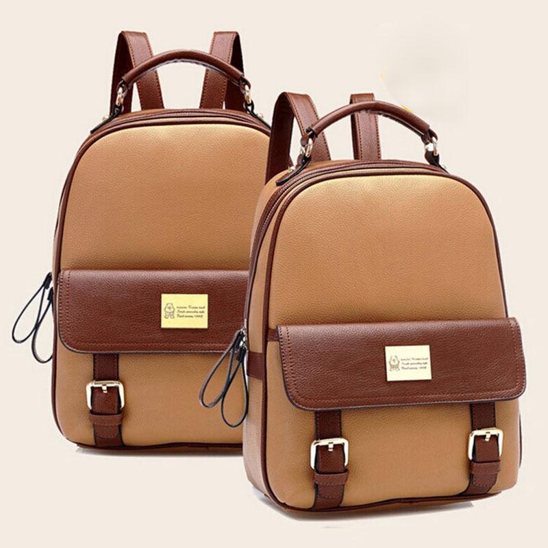 Korean Style Black Beige Brown Khaki Student Backpack Travel Soft Faux Leather Zipper Bookbags Vintage Women's Backpack Bag(China (Mainland))