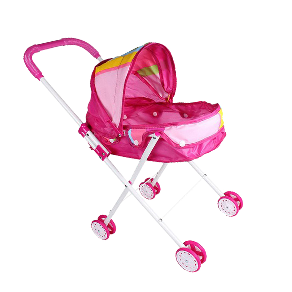Dollhouse Nursery Furniture Toys Mini Baby Doll Pram/Stroller with Free Carriage Pushchair Playsets Kids Pretend Play Toys