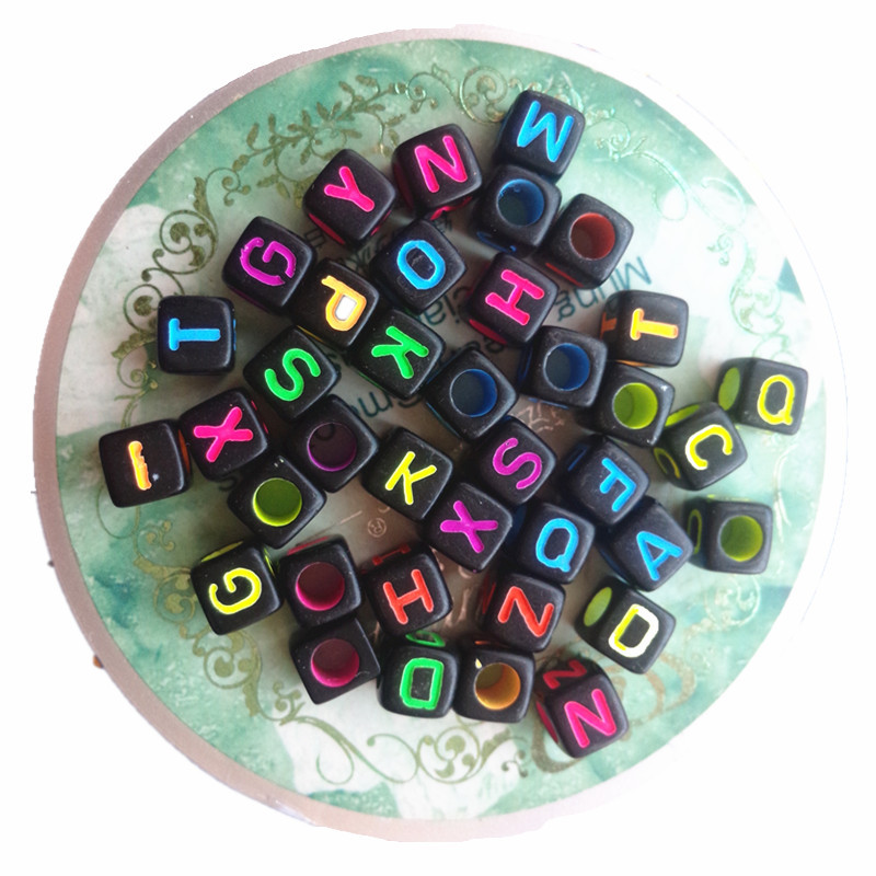 Factory Price Cube 6*6MM Acrylic Colorful Assorted Letter Beads 2600PCS/Lot Square Plastic Alphabet Initial Knit Bracelet Beads(China (Mainland))