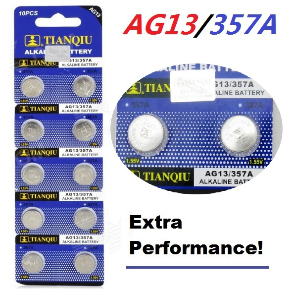 10pcs AG13 battery TIANQIU LR44 Toy Cell Button Batteries Alkaline 1166A L1154 RW82 RW42 SR1154 SP76