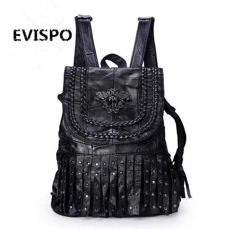 EVISPO Designer backpack women school 2016 backpacks for teenage girls famous brand travel leather backpack black(China (Mainland))