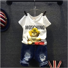 2016 Children Sets Cartoon Bear White T Shirt Ripped Denim Shorts 2 Pieces Girls Clothing Sets Casual Summer Boys Clothing Sets(China (Mainland))