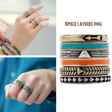 Min.order is $10(mix order) Free Shipping 2013 New Bohemian Style Fashion Ring 6pcs 1 set