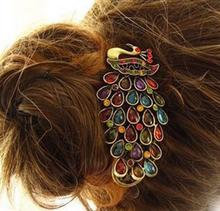 2 Pcs New Fashion Ladies Vintage Colorful Rhinestone Peacock Barrette Hairpin Hair Clip(China (Mainland))