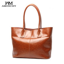 2016 New Genuine Leather Women Bags Vintage Cowhide Handbags Female Shoulder Bags Brand Natural Skin Bags Imported Lady Tote T75(China (Mainland))