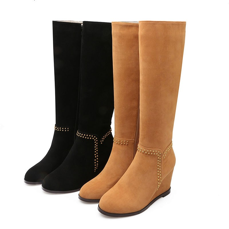 Fashion Lady's Autumn Winter Boots Nubuck Knee Boots Comfort Wedges Rivets Fashion 2016 Shoes Woman High Heels Boots