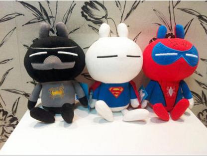 "2015 New Arrival Classic Plush Toys 11.8"" Tuzki Turned Superman Batman Spiderman High Quality Low Price Toys For Kids(China (Mainland))"