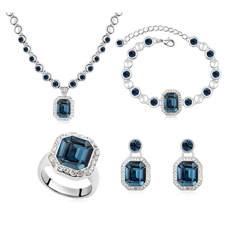 High quality Austrian Crystal Diamond Women Jewelry Sets& 18 Gold plated pendant Necklace/Earrings/Bangle/Ring