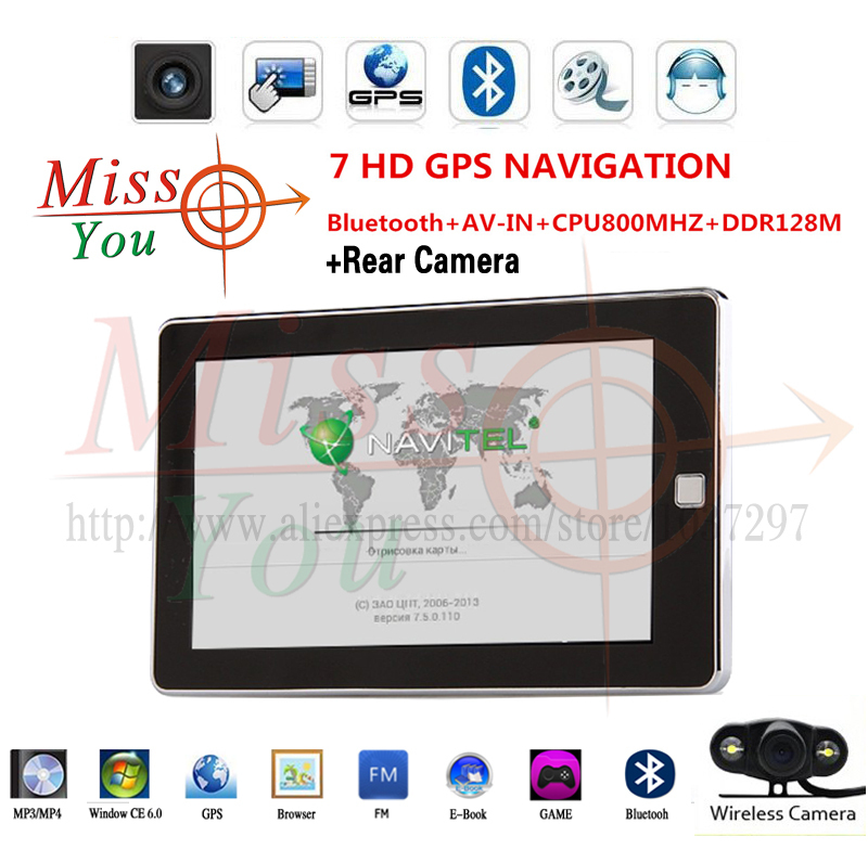 HD7 inch GPS navigation SiRF Atlas-VI Dual core CPU 800MHz DDR 128M 8G memory Bluetooth/AV-IN + Wireless Car Rear View Camera(China (Mainland))