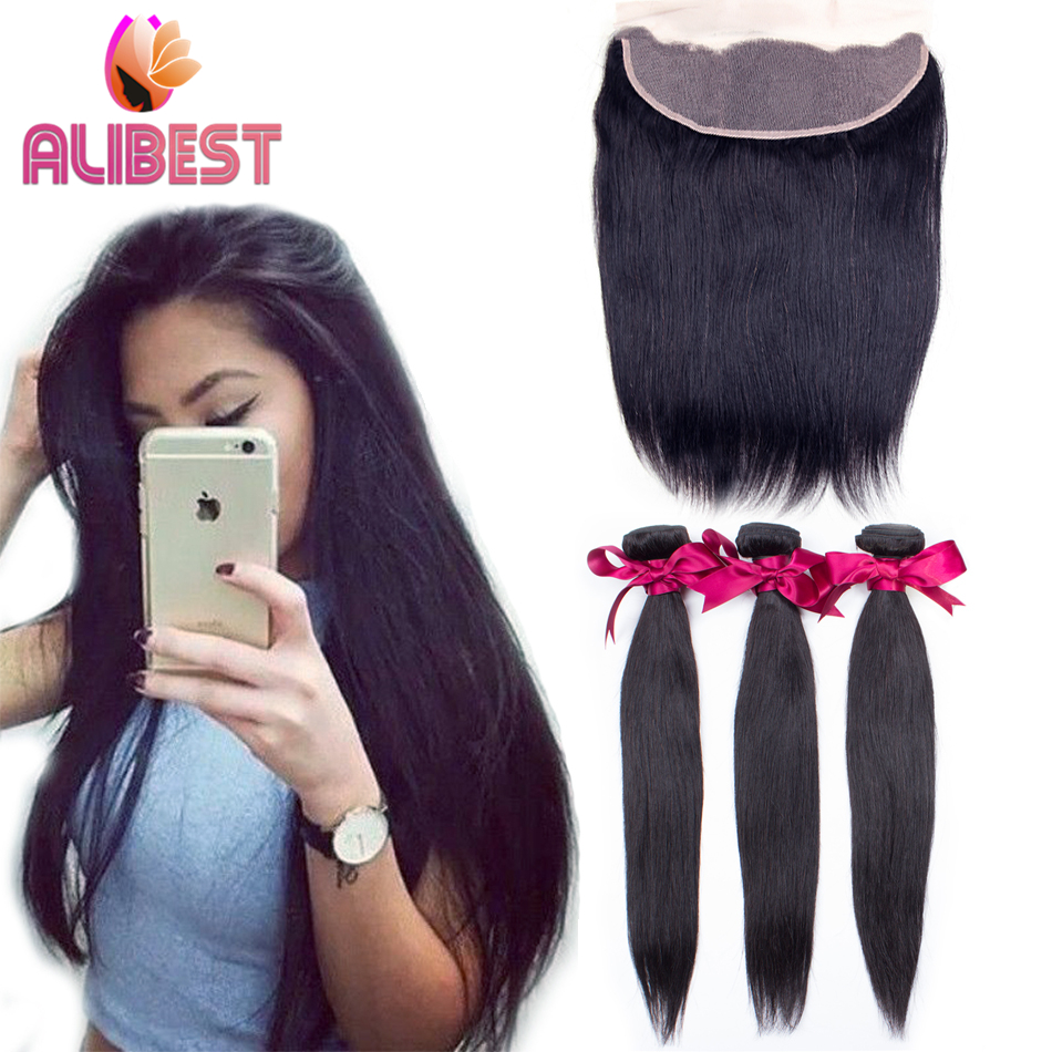 7A Brazilian Straight Lace Frontal Closure with Bundles 100 Human Hair Silk Straight with Lace Frontal Closure 4 pics/Lot(China (Mainland))