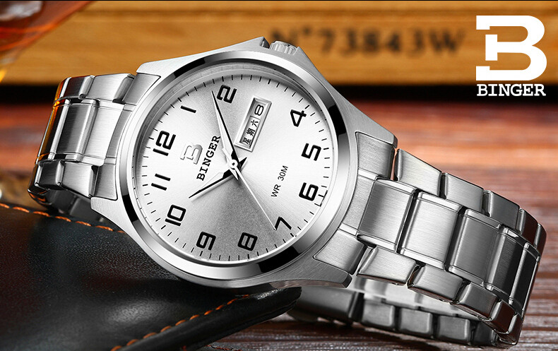 Binger Switzerland watches men luxury brand Men's Date Stainless Steel Wristwatch Good Quality Waterproof Sapphire Watch