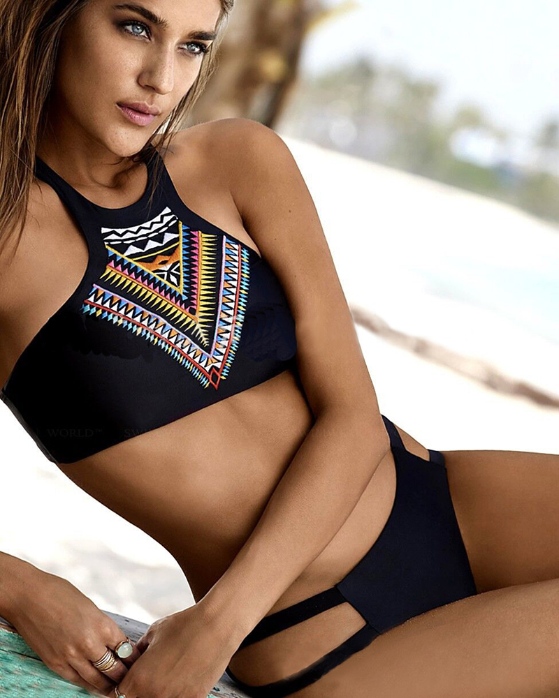 tribal print bikini women bathing suit sexy high neck halter biquini crop top brazilian swimwear. Black Bedroom Furniture Sets. Home Design Ideas