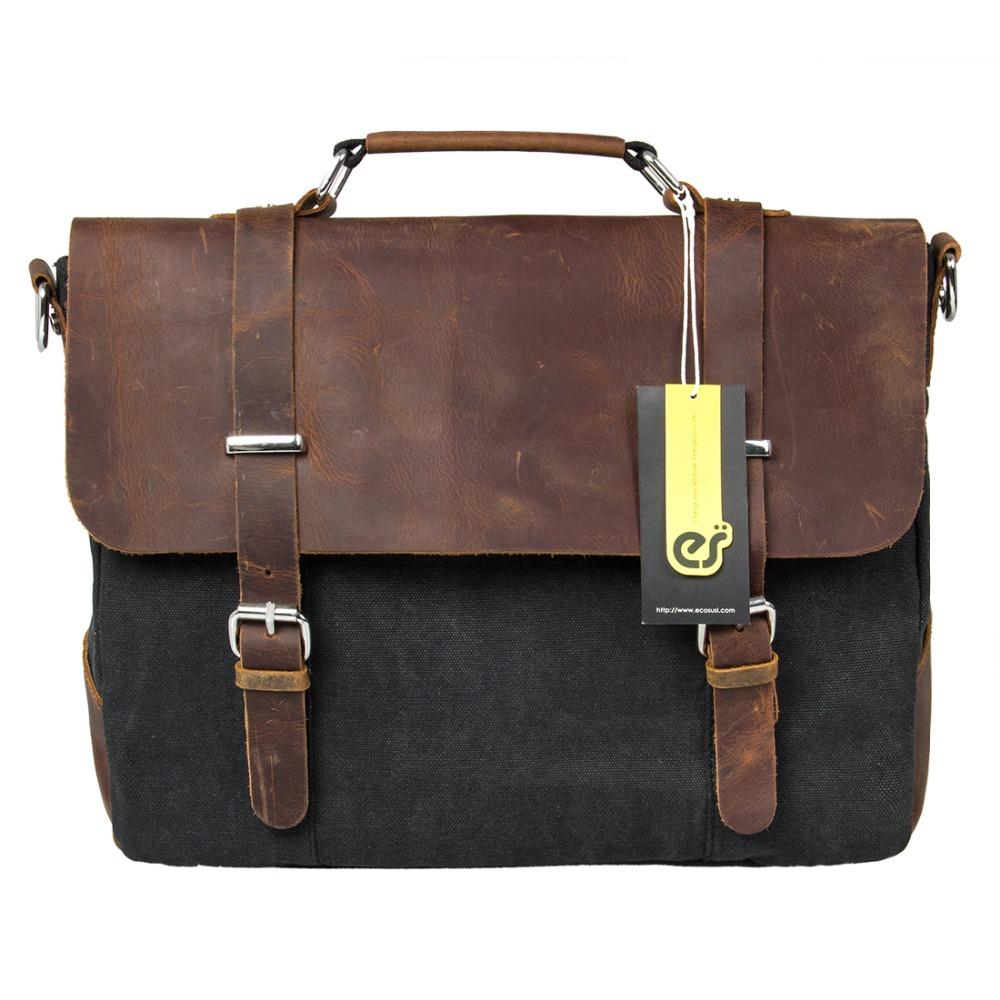 Mens Genuine Leather Briefcase Vintage Satchel School Military Shoulder Messenger Bags Fits 14 Laptop Bag leather bag men<br><br>Aliexpress