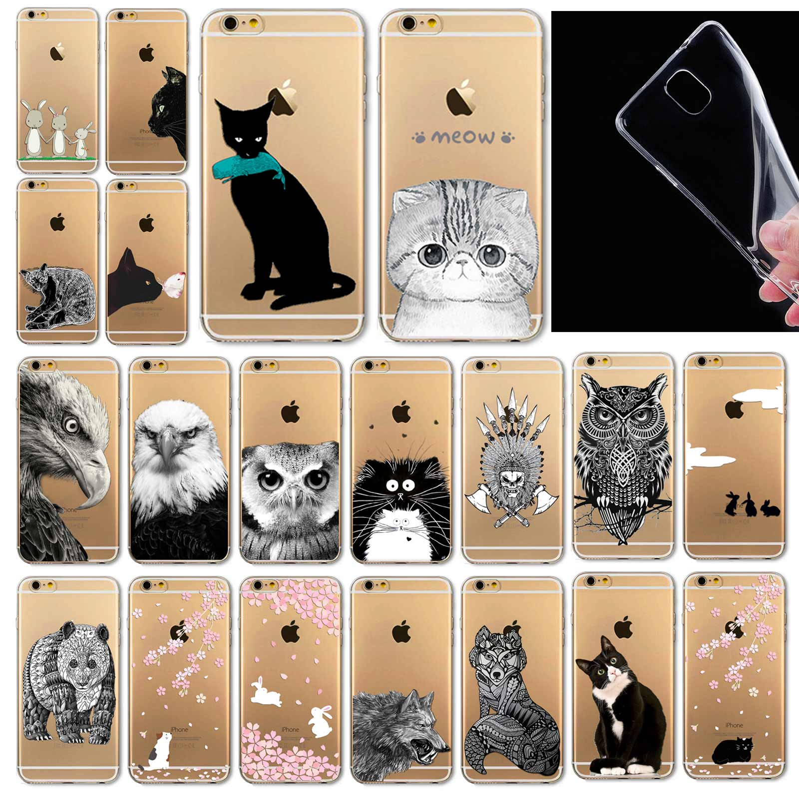"Fundas Mobile Phone Bags Case Cover for iphone 6 6S 4.7"" Soft Slim TPU Transparent Soft Cute Animal Cat Owl Rabbit Printed Style(China (Mainland))"
